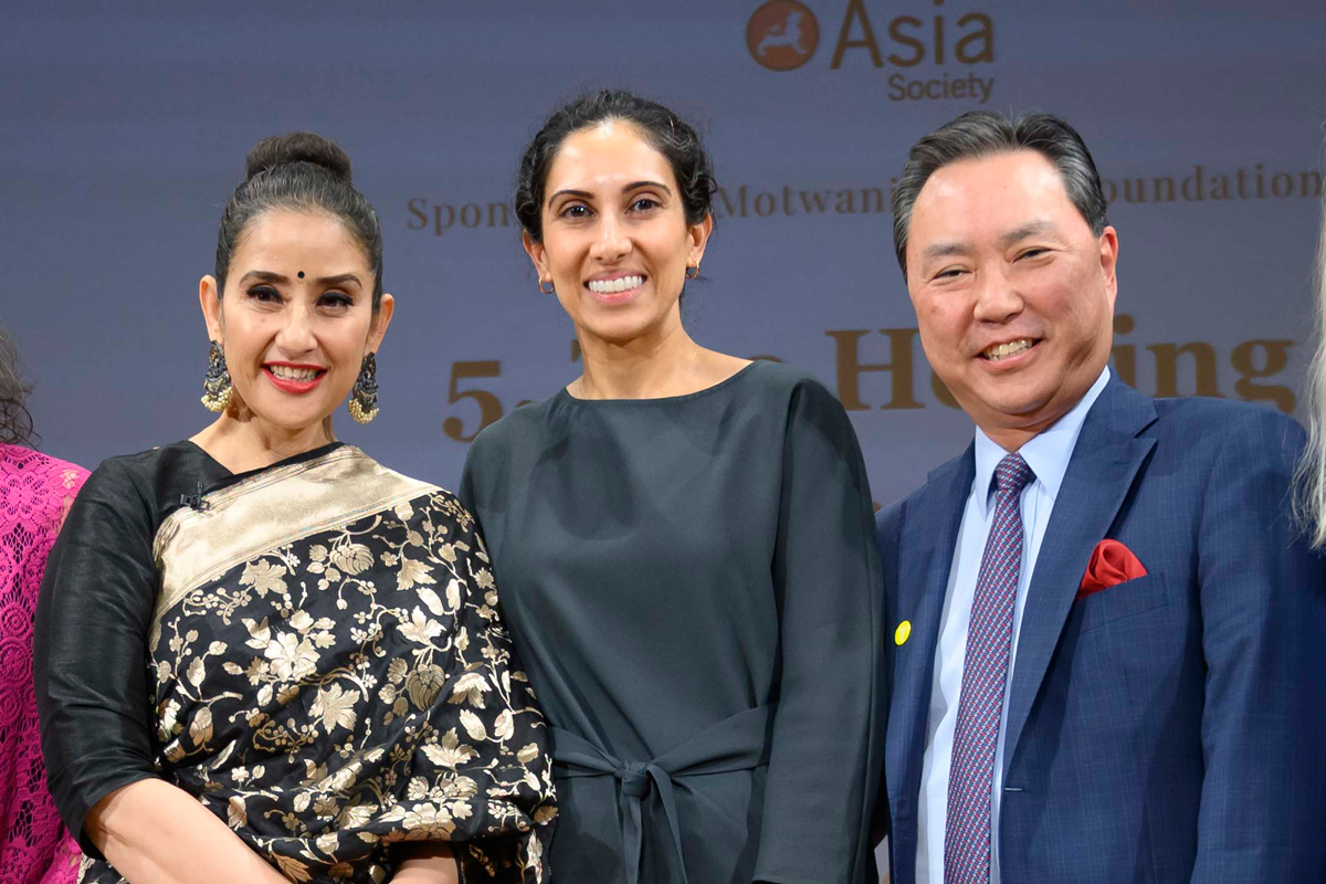 Manisha Koirala with Memorial Sloan Kettering gynecologic surgeon Dennis Chi and medical oncologist Vicky Makker.