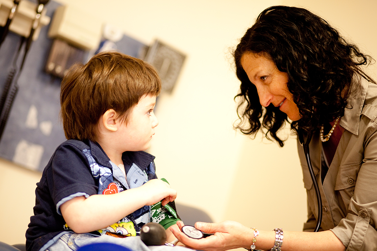 Our pediatrics team, including pediatric oncologist Susan Prockop (shown here with patient Lucas T.), is engaged in a number of research activities to improve care for our patients.