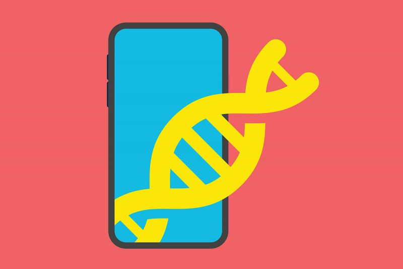 Image of a mobile phone with a strand of DNA