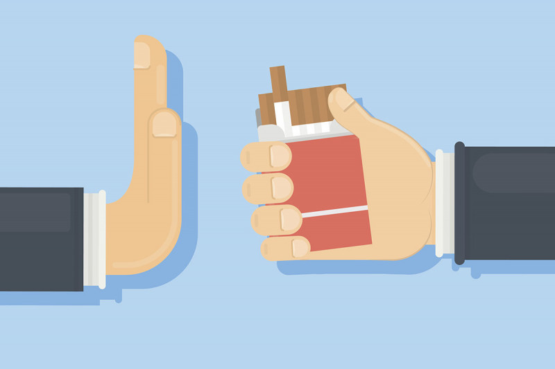 Cartoon of a hand offering cigarettes and another hand declining them.