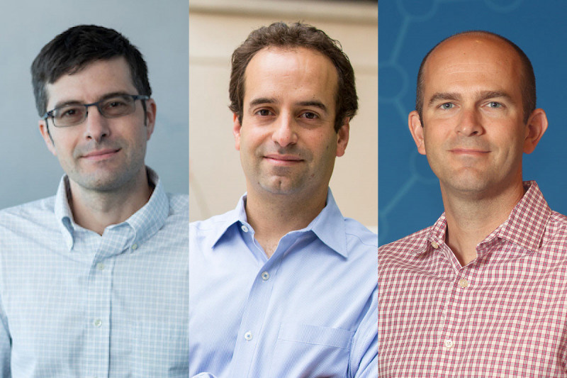 (From left) Nathanael Gray, Joshua Mendell, and Christopher Vakoc are the three recipients of the 2019 Paul Marks Prize for Cancer Research.
