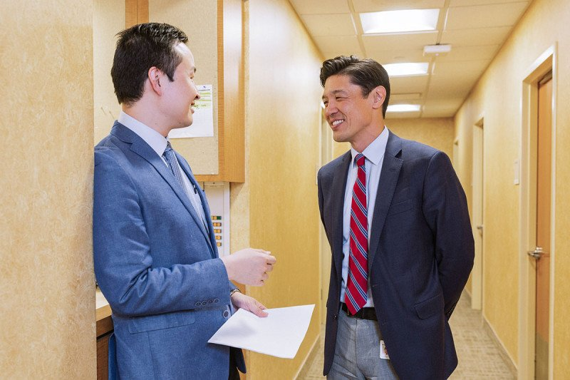 Dr. Li with MSK head and neck medical oncologist Alan Ho