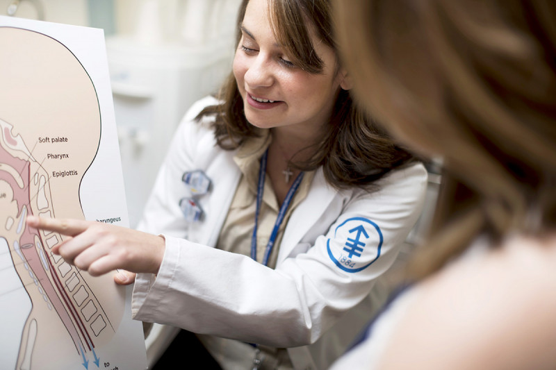 MSK's team of speech pathologists, including Katherine Kougentakis, have extensive experience in swallow and voice therapy.