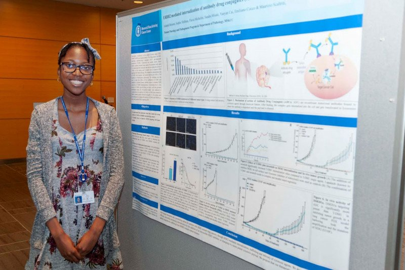 2019 HOPP Summer Student, Ashanti Benons from Maurizio Scaltriti lab presents her research at the poster session.