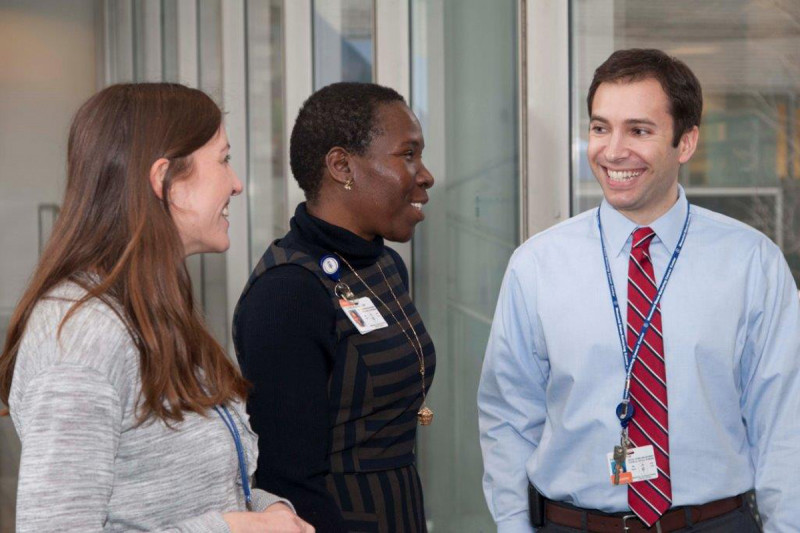Our psychiatrists, psychologists, and social workers specialize in helping people negotiate the challenges of cancer and its treatment. Pictured are social workers Rachael Warbet, Marsha Clarke, and David Sarfati.