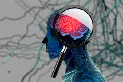 An illustration of a magnifying glass over a brain.