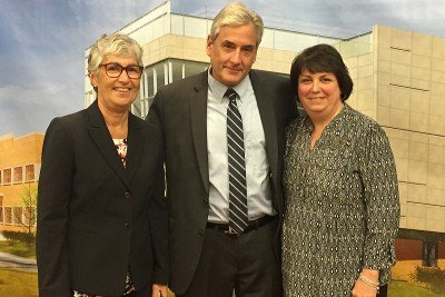 Memorial Sloan Kettering breast cancer surgeon Lisa Sclafani and medical oncologist Steven Sugarman with patient Susan Ruffini at Memorial Sloan Kettering Commack