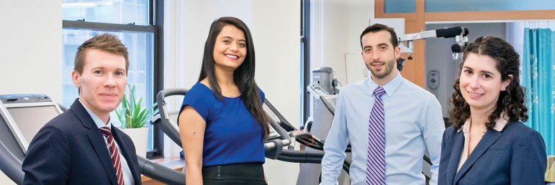 (From left) Lee Jones, Directory of the Cardio-Oncology Research Program with Research Study Assistant Bharvi Patel, Exercise Physiology Manager John Sasso and Clinical Research Manager Kristen Aufiero.