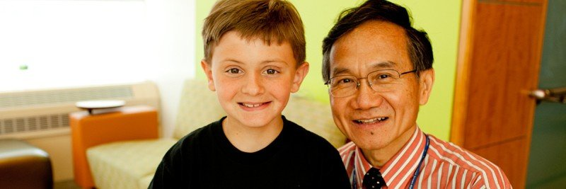 MSK pediatric oncologist and neuroblastoma expert Nai-Kong Cheung & patient Jeremy D