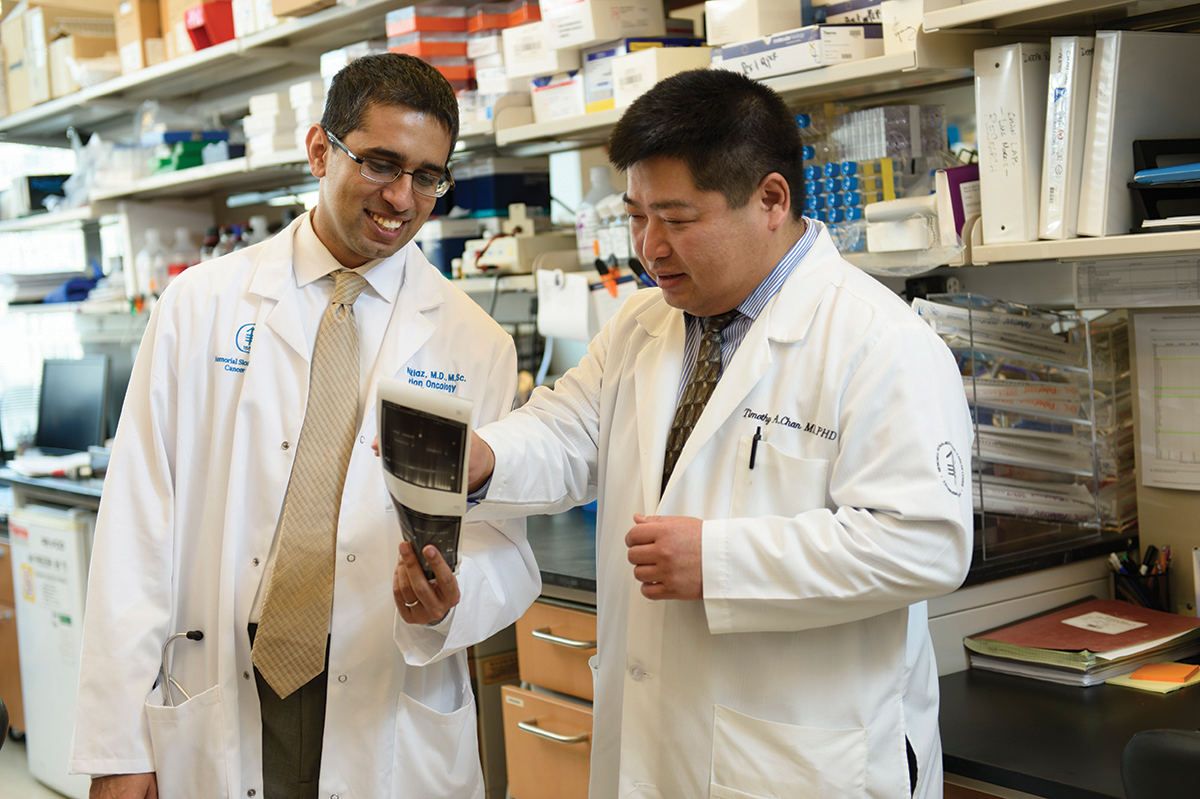 MSK researcher Tim Chan and radiation oncologist Nadeem Riaz
