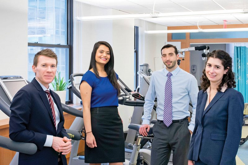 (From left) Lee Jones, Director of the Cardio-Oncology Research Program, with Research Study Assistant Bharvi Patel, Exercise Physiology Manager John Sasso, and Clinical Research Manager Kristen Aufiero.