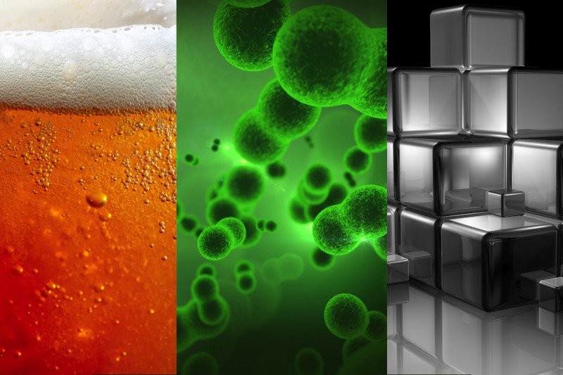 Montage of beer, reproducing cells, and building blocks