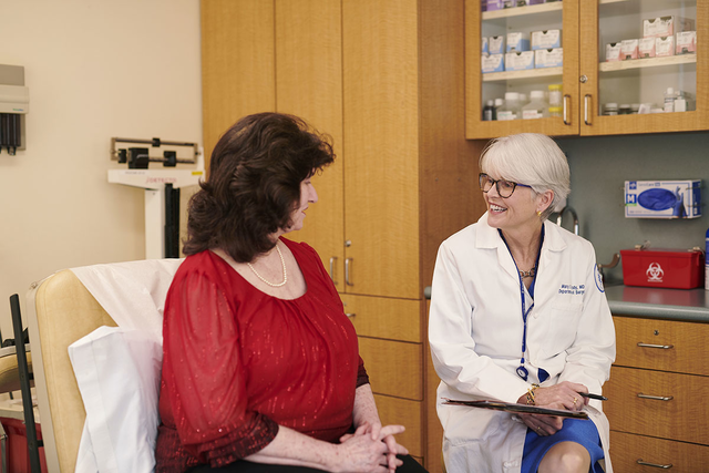Dr. Mary Sue Brady with patient