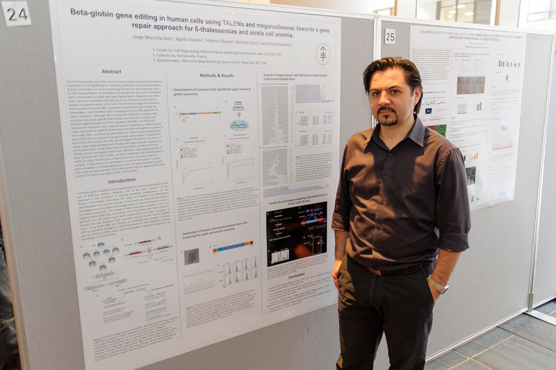 """Jorge Mansilla-Soto of the Sloan Kettering Institute's Molecular Pharmacology and Chemistry Program and the Center for Stem Cell Biology NYSTEM Trainings Grant presents """"Beta-globin Gene Editing in Human Cells Using TALENs and Meganucleases: Towards a Gene Repair Approach for ß-thalassemias and Sickle Cell Anemia."""""""
