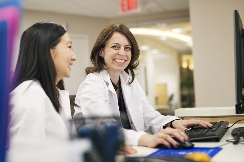 Medical oncologist Dana Rathkopf (right) cares for men with advanced disease.