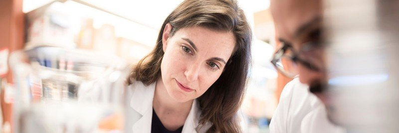 MSK physician-scientist Adrienne Boire in her lab