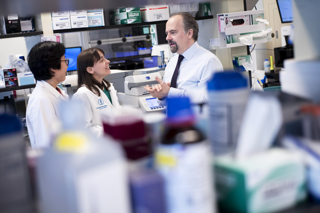Pictured: Liying Zhang, Diana Mandelker, and Marc Ladanyi in lab