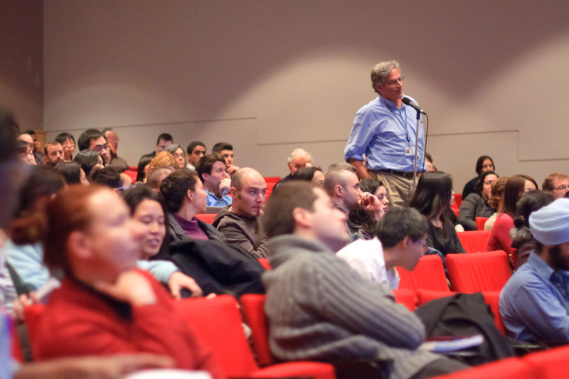 Robert Benezra of Sloan Kettering Institute's Cancer Biology and Genetics Program poses a question during the symposium