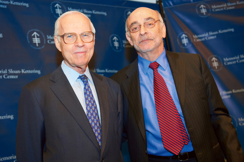 Lloyd Old is presented with the C. Chester Stock Award Lectureship by Memorial Hospital Physician-in-Chief Robert Wittes.