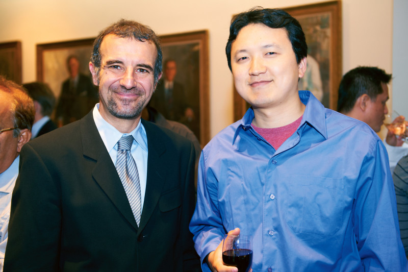 Chair of the Structural Biology Program Nikola Pavletich (left) with his mentee, PhD recipient Jie Fan.